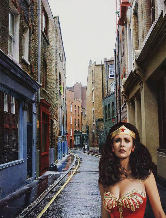 Spitalfields London: Wonderwoman In Spitalfields, London